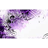 LANA KK Fototapete Poster Tapete - edler Kunstdruck auf Vliestapete in Stuck Optik, 300 x 180 cm, Jungle Drum Lila Silber