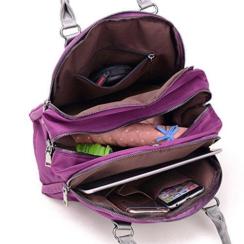 Young & Ming - Donna Female Nylon Handbag Borse a spalla Tote Shouder Bag con tracolla materiale impermeabile blu