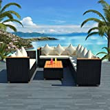 Tuduo Garten-Sofagarnitur 27-tlg. Garten Lounge Set Poly Rattan WPC Gartengarnitur Schwarz