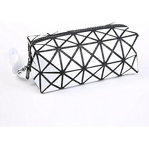 3D Geométrico Romboidal Bolso Cosmético del PVC, Bolsa de Maquillaje con Cierre de Cremallera, Bolsa de Maquillaje portátil Bolsa de Aseo