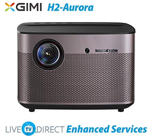 4K Beamer, LiveTV.Direct Erweitert zum XGIMI H2-Aurora Natives 1080p-HD Hauptprojektor Android 3D Smart TV Videofilmprojektor Eingebaut Harman/Kardon HiFi Stereo