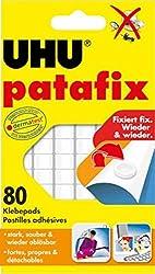 UHU Patafix, Wieder ablösbare und wieder verwendbare Klebepads, weiß, 80 Stück