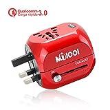 [Quick Charge 3.0] Adaptador Enchufe,Adaptador de Viaje Enchufe Universal Carga rápida 3.0 Puerta Seguridad de Doble fusibles para Navidad EEUU, AU, Asia, US,UK Acerca de 150 Países - Uppel (Carmesí)