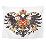 Tapestry Black Heraldic of Arms Austria Vintage from Meyers Konversations Lexikon 1897 Eagle Shield Home Decor Wall Hanging for Living Room Bedroom Dorm 60x80 inches