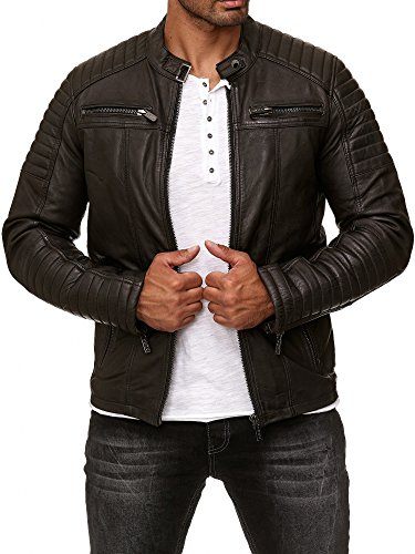 Redbridge Herren Jacke Übergangsjacke Biker Lederjacke Echtleder Kunstleder Baumwolle mit gesteppten Bereichen (M, Braun - Echtleder)