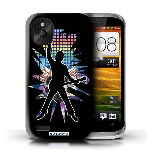 Kobalt® Imprimé Etui / Coque pour HTC Desire X / Chanteur Blanc conception / Série Rock Star Pose Windmill Noir