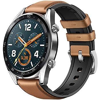 Huawei Watch GT - Montre Connectée (GPS, Ecran AMOLED tactile, boitier Inox 46mm, autonomie jusquà 14 jours) avec Bracelet Cuir Marron
