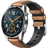 Huawei Watch GT - Montre Connectée (GPS, Ecran tactile, boîtier Inox 46mm) avec Bracelet Cuir Marron