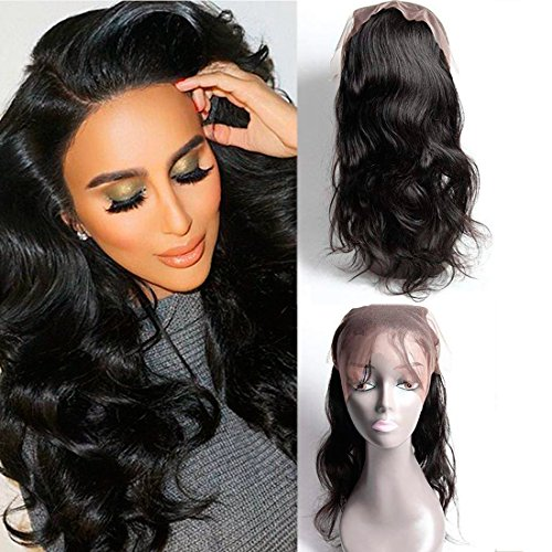 360 Closure Frontale Bresilienne En Lot Pas Cher Body Waves Hair With Lace Front Frontal Closure With Baby Hair Tissage Cheveux Naturels Lisse 16 pouces