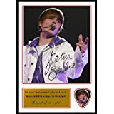 Printed Picks Company Justin Bieber (On Stage) Signed Photo and Matching Guitar Pick (Autograph and Plectrum Set)