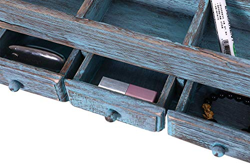 Rustic Wooden Desk Organizer for Home or Office - Makeup Organizer and Storage for Bathroom – Vanity Organizer with 3 Drawers and 6 Compartments – Rustic Blue Workspace Organizer