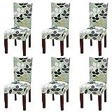 YISUN Universal Stretch Stuhlhussen 4er 6er Set Stuhlbezug für Stuhl Esszimmer Grün