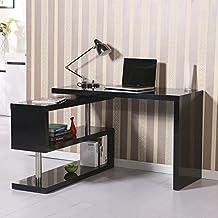 Mesa Escritorio de Ordenador PC + Libreria color negro