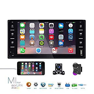 Doppel-Din-Auto-Stereo-Radio-7-Zoll-Touchscreen-Bluetooth-FM-Radio-Receiver-mit-USB-AUX-in-Port-Untersttzung-Smart-Phone-Mirror-Link-Mini-4-LEDs-Backup-Kamera-fr-Toyota-Corolla