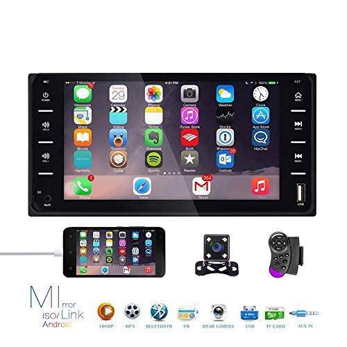 Doppel Din Auto Stereo Radio 7 Zoll Touchscreen Bluetooth FM Radio Receiver mit USB AUX-in Port Unterstützung Smart Phone Mirror Link + Mini 4 LEDs Backup Kamera für Toyota Corolla