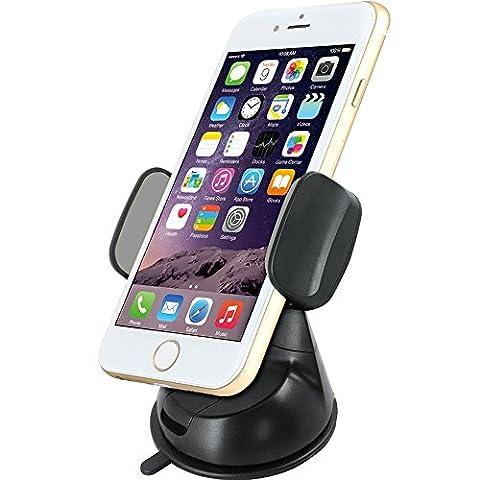 MXtechnic KFZ Halterung mit Kugelgelenk 360 drehbar Universal Windschutzscheibe oder Armaturenbrett Handyhalter für iPhone 7/ 6 / 6s Plus SE 5 / 5s, Samsung S7 / S7 Edge / S6 / S6 Edge / A3 / A5 2016, LG, Huawei, Blackberry, OnePlus u.s.w (Black)
