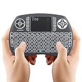 Mini Tastiera Wireless Greatever Mini Tastiera Retroilluminata Wireless Portable Keyboard Ergonomica Mouse Touchpad per Smart Android TV BOX, Mini PC, HTPC, Console, Computer ,Colore NERO