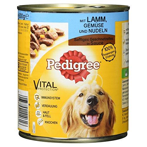 Pedigree Dose Adult mit Lamm, Gemüse und Nudeln-Saft Geschnetzeltes, 800 g (Ballaststoffe Prebiotische)