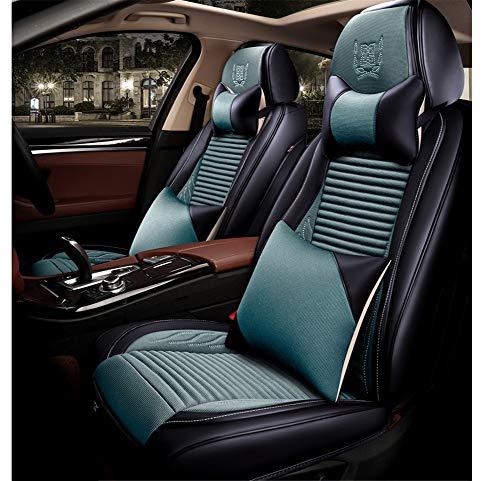 Cabzswh Auto Sitzkissen Atmungsaktiv Buchweizen Shell Bettwäsche 6D Alle umgeben von Vier Jahreszeiten Universal-Sitzbezug, geeignet für die Meisten fünfsitzigen Auto, Green -