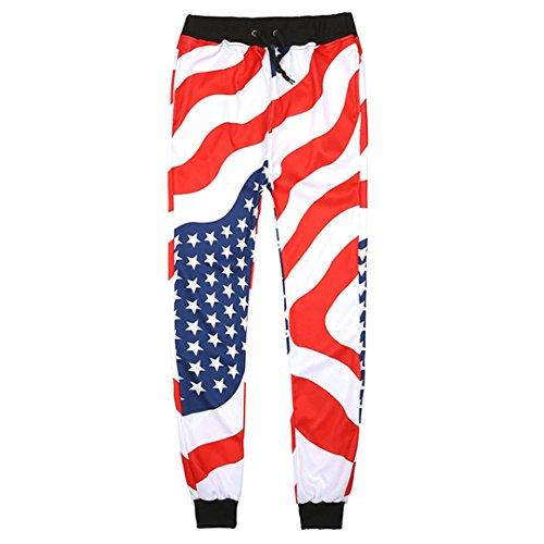 WEPTANSES PantsMen Casual American USA Flagge Printed Jogger Hosen Mens 3D Stars and Stripes Druck Weiß Hip Hop Fashion Hosen Herren Hosen White XL