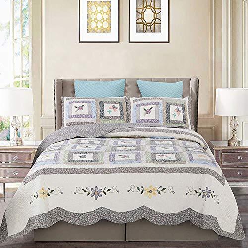 Starsou 3 STÜCKE Sommer Quilt Set Revisible Printed Floral Leichte Bestickte Tagesdecke Bettdecken, C329,Queen -
