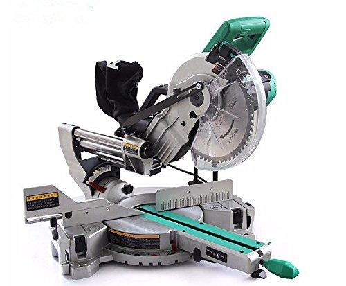 Gowe Scie à bois 25,4 cm Sliding composé Scie à onglets 254 mm composé Scie à onglets 1800 W électrique Scie circulaire avec laser Ligne de coupe