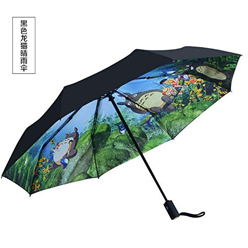 Dragon Cat Regenschirm Automatik Herren und Damen Schwarzklebe-Sonnenschutz Faltbarer Sonnenschirm Sonnenschirm Anti-UV-Schirme Black Dragon Cat Double Sunny Umbrellas S * 8K