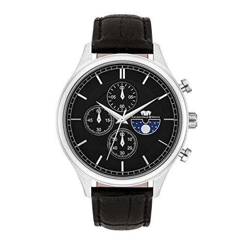 Rhodenwald & Söhne Niles Men's Chronograph Watch Black Bracelet in Genuine leather / real leather Black Waterproof / Water-resistant 5 ATM 10010270