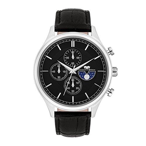 Rhodenwald & Söhne Montre bracelet Niles Homme Chronographe Quartz noir bracelet cuir véritable Etanchéité 5 ATM 10010270