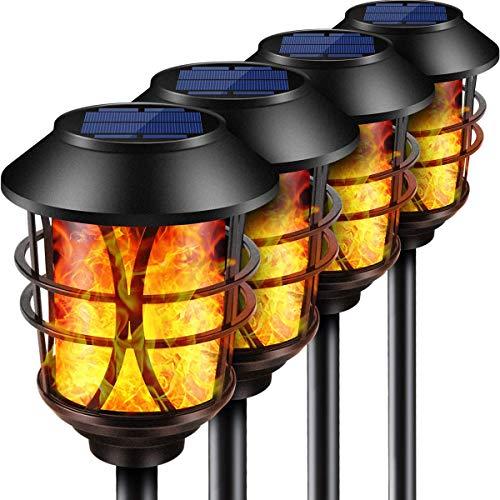 Puaida Solarleuchte Garten Metall Fackel, 99 LED Solarlampen für Außen mit Automatische Ein/Aus (Licht Sensor), IP65 Wasserdicht realistische Flammeneffekt Solar Fackeln (4 pack)