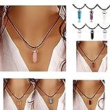 ILOVEDIY Chakra-Anhänger Halskette Edelstein Herz Healing Reiki Hexagon Säulen Anhänger Pandent (Rosenquarz)