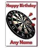 Cible de fléchettes carte d'anniversaire personnalisé–n'importe quel nom et âge Imprimé sur le devant