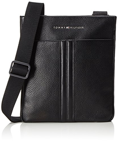 Tommy Hilfiger Business Leather Flat Crossover - Cartelle Uomo, Schwarz (Black), 5x28x39 cm (L x H D)