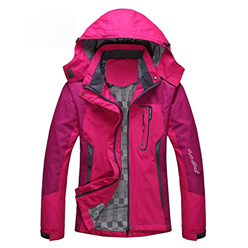 Diamond Candy Giacca a Vento softshell per Donna con cappuccio da Trekking Montagna Pouring Adventure e Outdoor Sports,Rosa XL