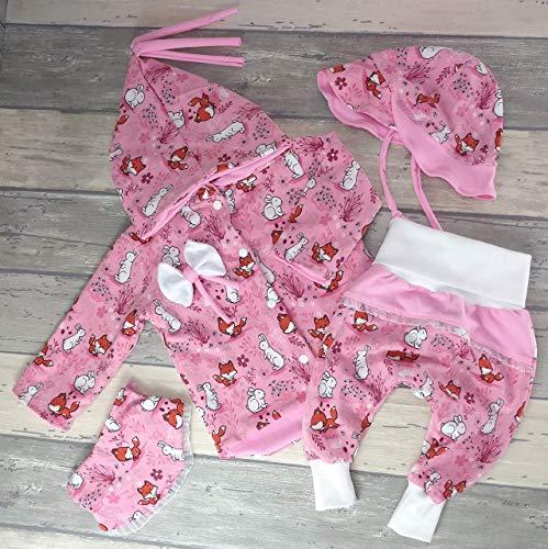Babyset oder Einzelartikel(Pumphose, Jacke, Mütze, Halstuch, Strampelsack) Gr.62/68-74/80 Newborn Geburtsgeschenk Mädchen Fuchs + Hase rosa -