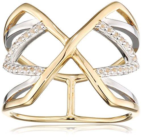 caï women Damen-Ring 925 Silber rhodiniert gelb vergoldet Topas weiß 52 (16.6) C1807R/90/93/52