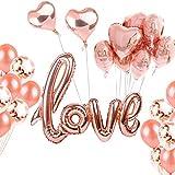 INSANY Rose Gold Love Luftballons Folienballon Herz Ballon Hochzeit Luftballons