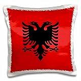 inspirationzstore Flaggen –, Flagge von Albanien–Albanische schwarz Double Eagle Richtung auf Rot–Balkan Osteuropa europäischen Welt–Kissen Fall, Satin, weiß, 16 by 16