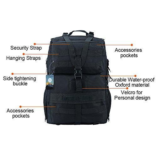 TTLIFE Unisex 45L Rucksack, Trekkingrucksacke, Erwachsene Taktischer Rucksack, Outdoor Wanderrucksäcke, für Camping, Bergsteigen, Radfahren, Wandern Schwarz