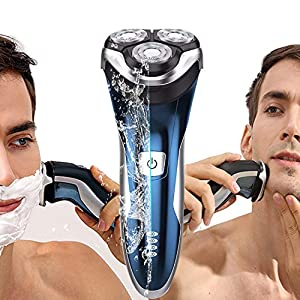 Electric Shaver for Men Wet Dry Electric Razor IPX7 Waterproof Rotary Shavers Rechargeable Electric Shaving Razors with Pop-up Trimmer by SweetLF