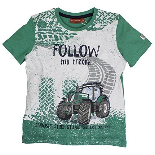 SALT AND PEPPER Jungen T-Shirt Tractor print & Stick 73112146, Gr. 116 (Herstellergröße: 116/122), Grün (green 650)