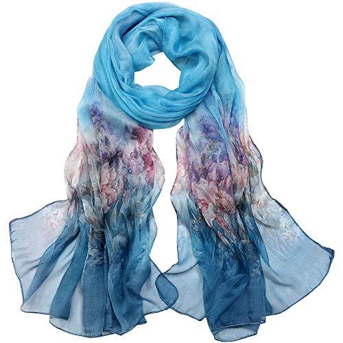 LD Damen Schal, 100% Seide, elegant, modisch, hypoallergen, Blau Eleganter Schal