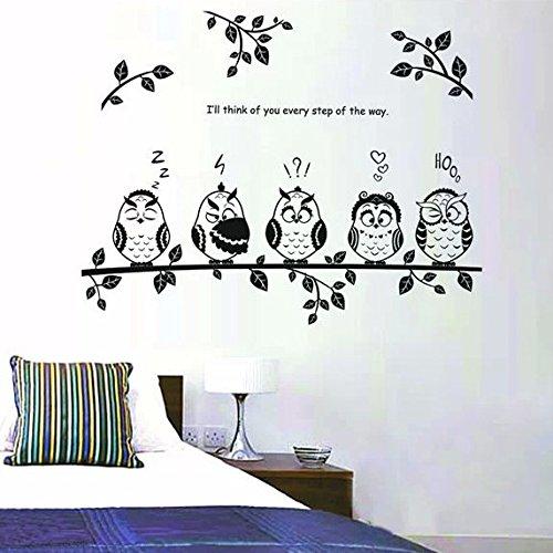 Pegatina de pared adhesivo decorativo para cuartos buhos sobre rama color negro