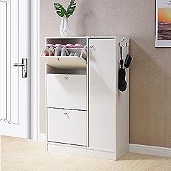 HomJoy Modern Design Shoe Cabinet, Wooden Shoe Rack Closet Hallway Storage Organiser Unit (White, 3 Drawer and 1 Door)