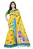 Jaanvi Fashion Women's Art Silk Kalamkari Printed Saree (Yellow)