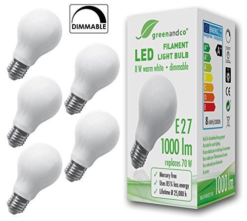 5x greenandco Glühfaden LED Lampe dimmbar ersetzt 70 Watt E27 Birne matt, 8W 1000 Lumen 2700K warmweiß Filament Fadenlampe 360° 230V AC nur Glas, flimmerfrei, 2 Jahre Garantie