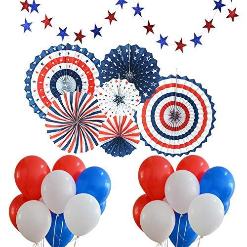 Amerikanischer Unabhängigkeitstag, 4. Juli - Inklusive 6 Stück Papierfächer, 30 Stück Blau, Rot, Weiß, Luftballons, 24-Sterne-Luftschlangen, Party-Dekorbedarf, Band, Wandbehang-Set ()