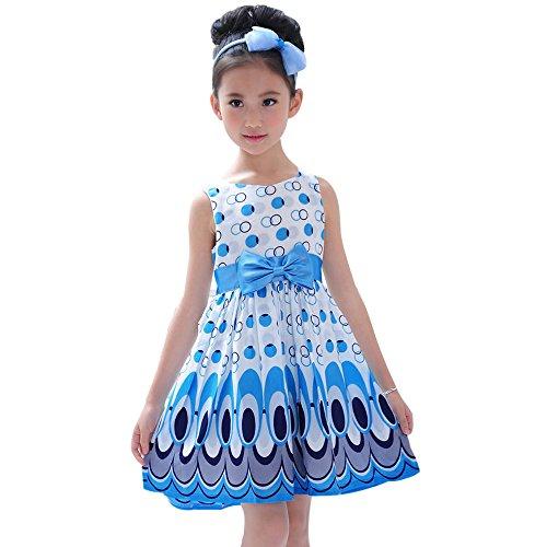 Honestyi BabyBekleidung Kinder Mädchen Bogen Gürtel ärmellose Blase Pfau Kleid Party Kleidung Outfits (XL,Blau)