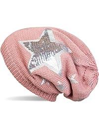 styleBREAKER warme Feinstrick Beanie Mütze mit All Over Vintage Stern Print, Pailletten Stern und sehr weichem Fleece Innenfutter, Unisex 04024091
