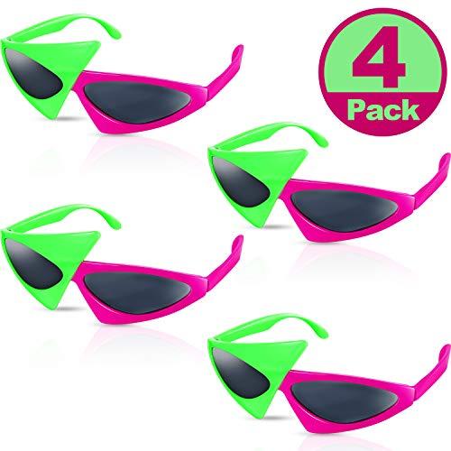Frienda 4 Packungen 80 Jahre Asymmetrische Sonnenbrille Neuheit Party Sonnenbrille, Neongrüne und Rosa Kostüm Brille Spielzeug, Tanz Halloween Party, Lustige Brille Zubehör für Kinder und Erwachsene (Paare Kostüm Einzigartig)
